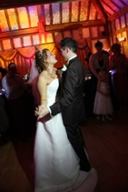 bride and bridegroom take their first dance